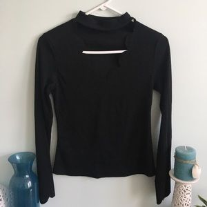 Black top with deep v and neck strap